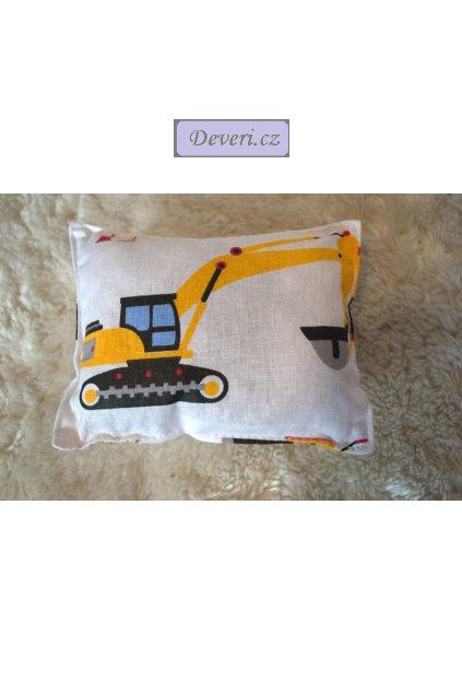 Bavlněný polštářek s levandulí lékařskou bagr, domíchávač, buldozer, 10x10cm bílý různé motivy