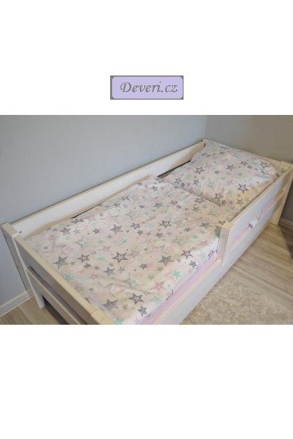 Bavlněné povlečení hvězdičky růžovo mátové 140x200cm / 70x80cm v bílé