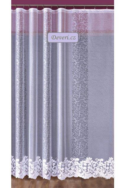 Netradiční žakárová záclona bílá 2 rozměry