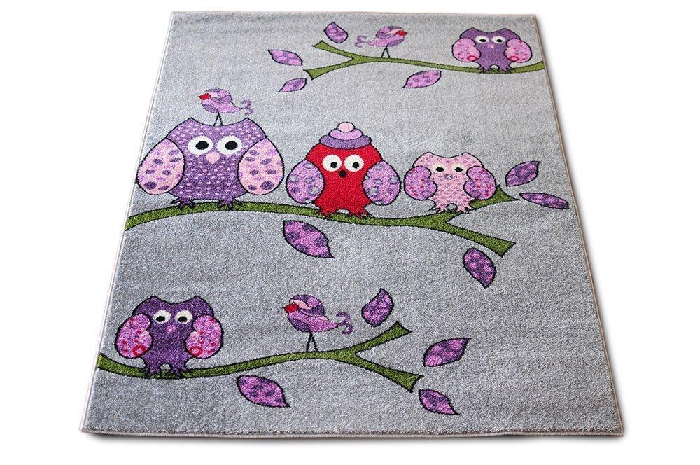 Luxusní kusový dětský koberec šedé sovy 160x220cm
