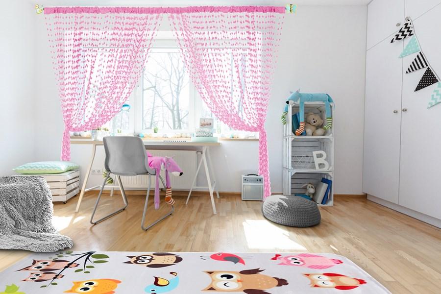 Dětská záclona Baby ball pink / růžová 250x240cm