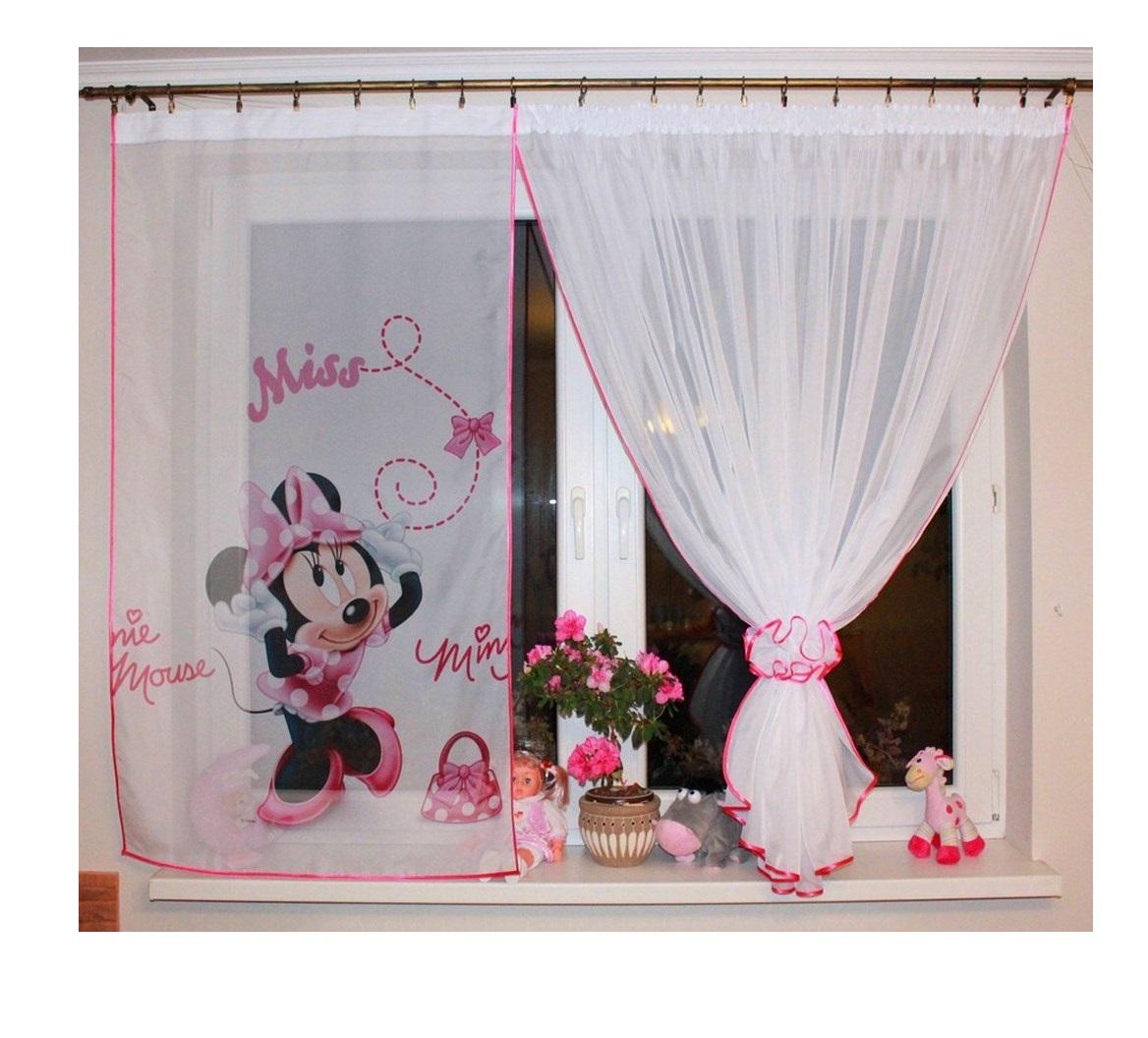 Voálová Záclona Myška Minnie Růžová 350x150cm