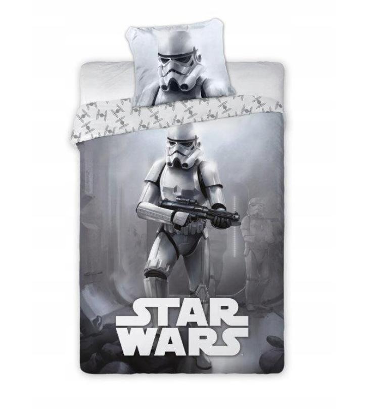Dětské bavlněné licenční povlečení Star Wars šedé 140x200cm / 70x80cm