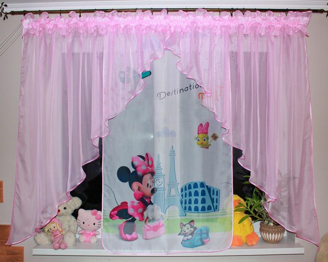 Voálová Záclona Bela Myška Minnie ve městě světle růžová dva úkosy 400x145cm