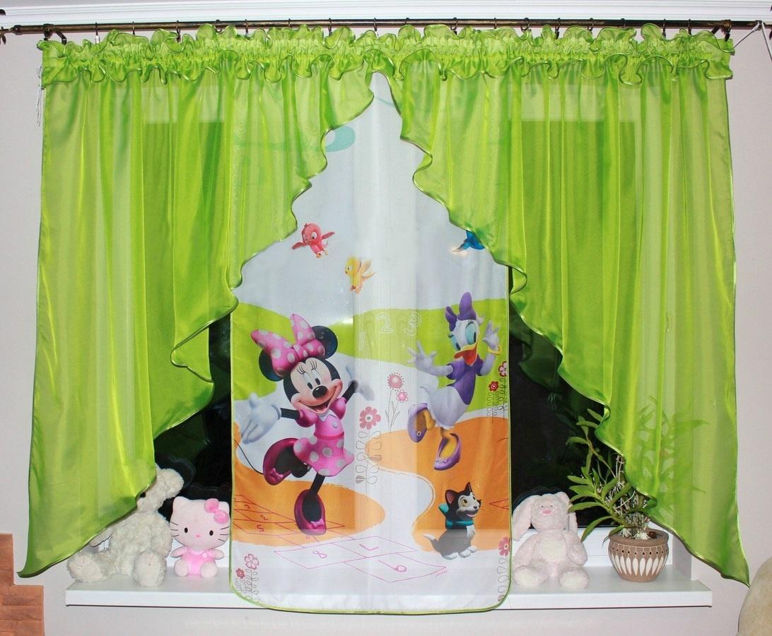 Voálová Záclona Bela Minnie a Daisy zelená dva úkosy 400x145cm