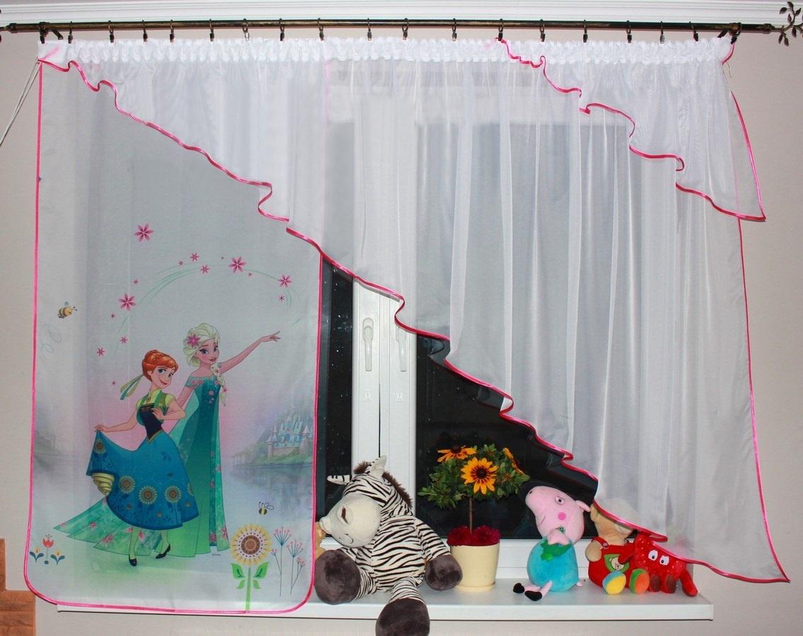 Voálová Záclona Lola Anna a Elza květiny s úkosem tmavě růžová 360x140cm