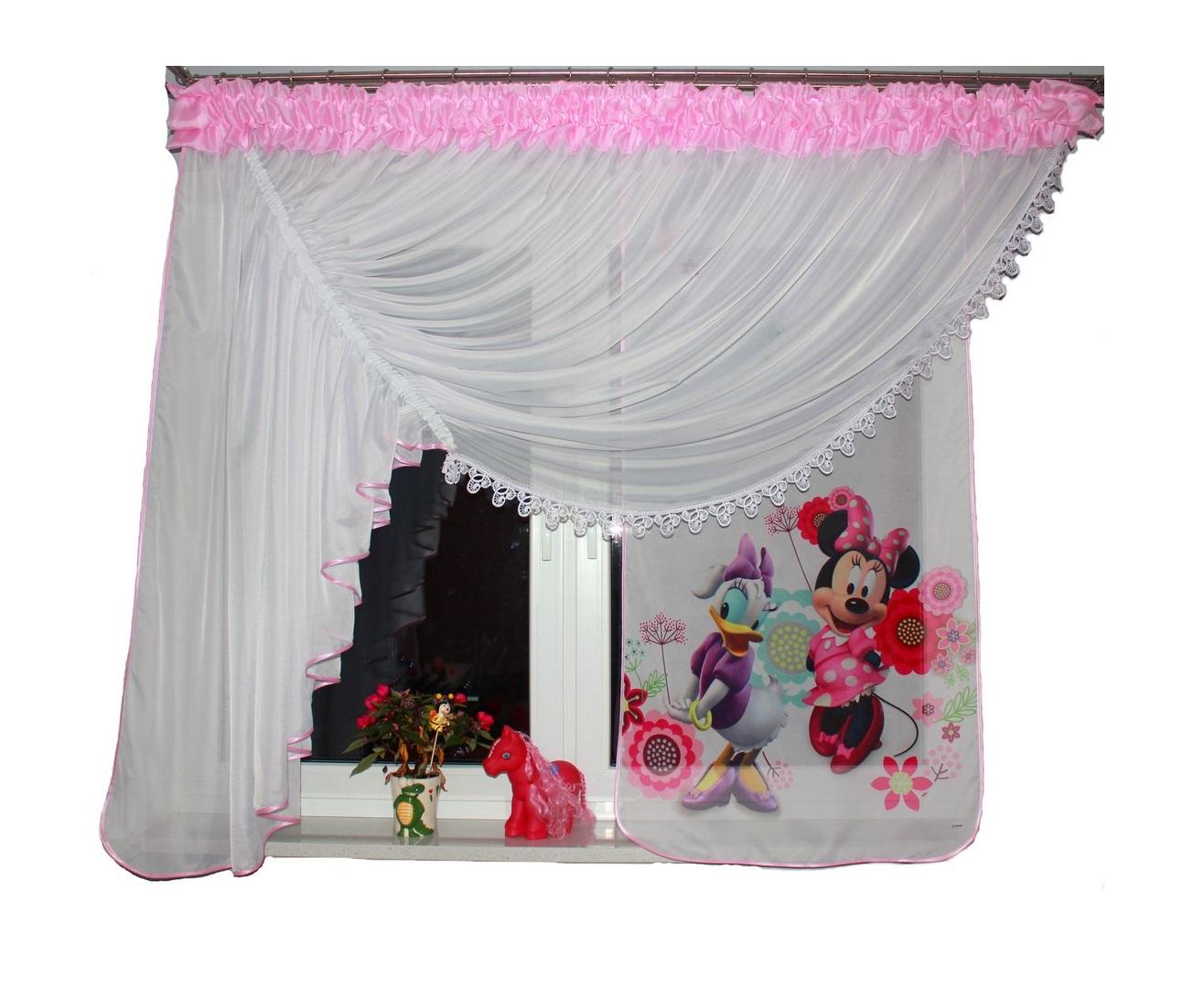 Voálová Záclona Lily Minnie a Daisy světle růžová 400x150cm