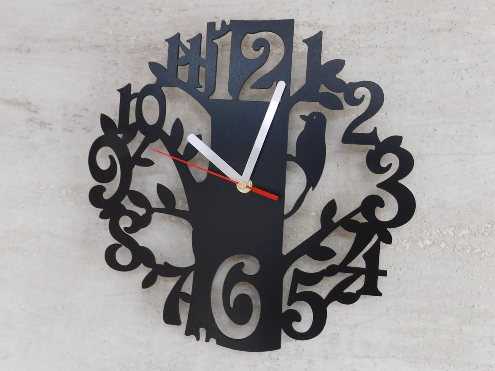 Nástěnné hodiny DŘEVO černé 30cm