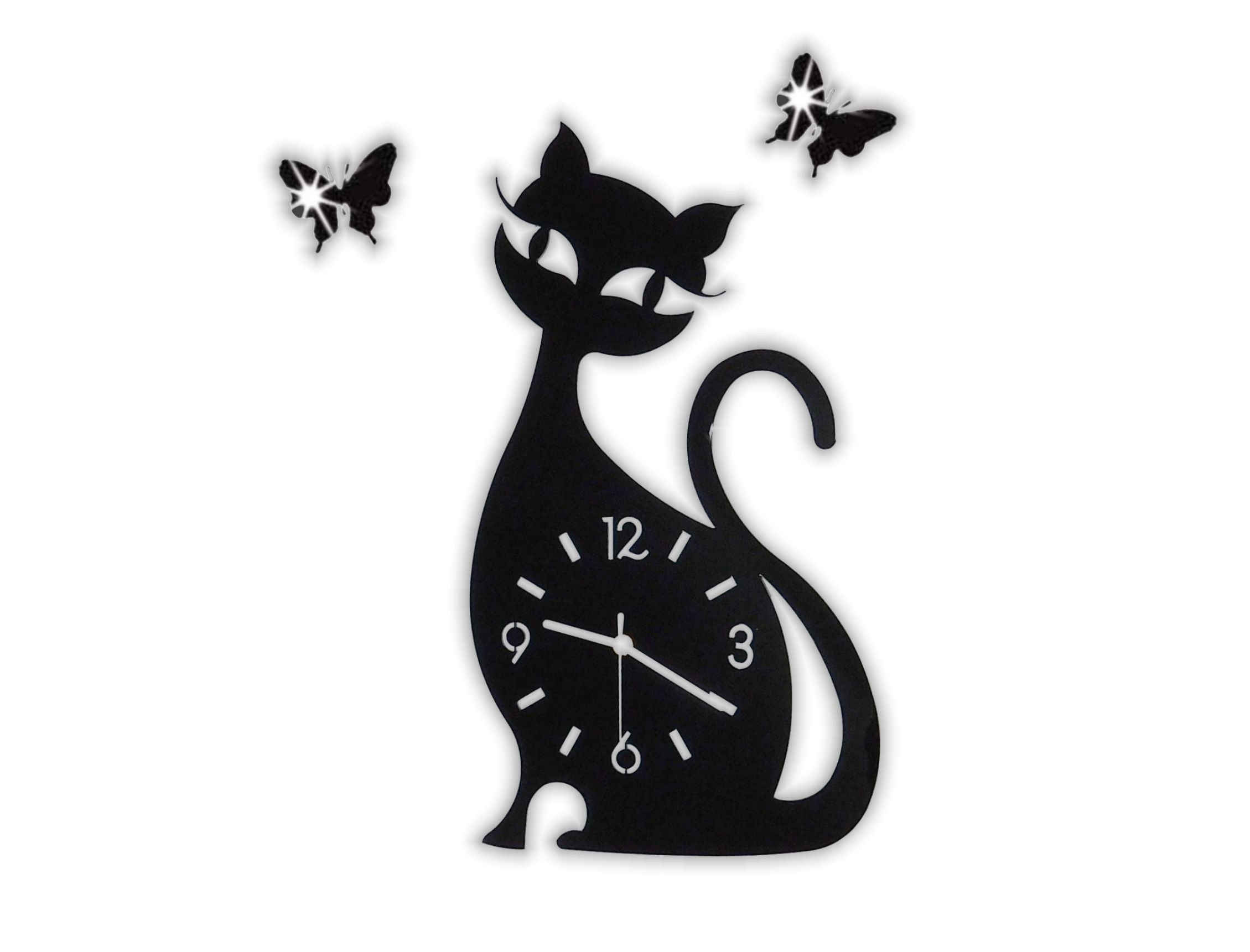 Nástěnné hodiny Kočka s motýly 45x25cm černá / bílá