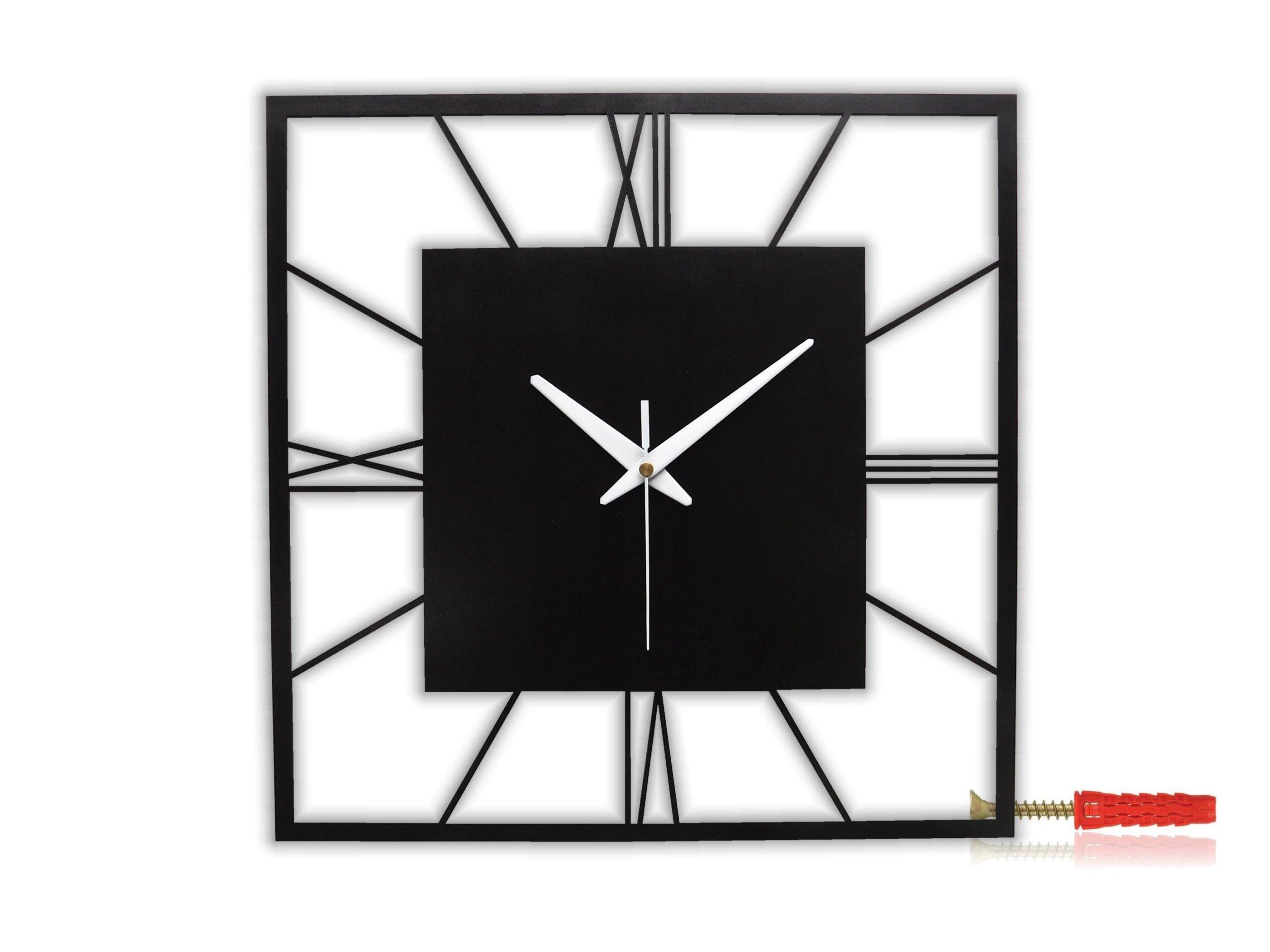 Nástěnné hodiny černé kovové čtverec 37,5cm