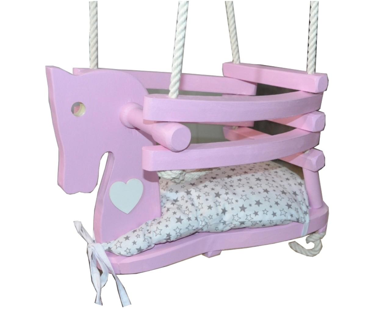 Dřevěná houpačka Sweet horse růžový koník, srdce bílé, podsedák hvězdičky šedé 42x30x28cm