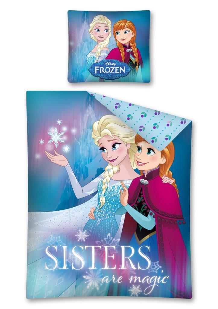 Dětské bavlněné licenční povlečení Disney Frozen / Ledové království / Elza a Anna Sisters are magic 140x200cm / 70x80cm modré