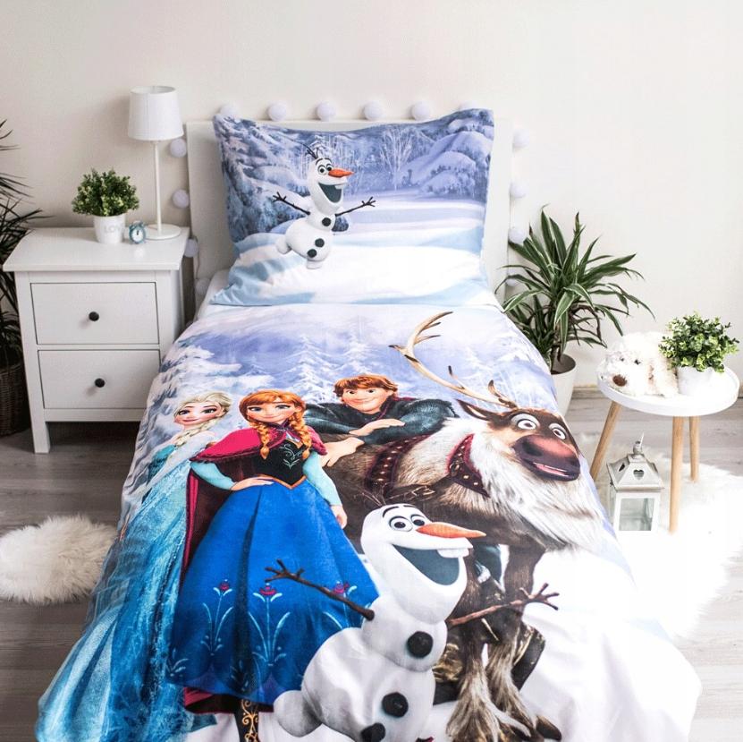 Dětské bavlněné licenční povlečení Disney Frozen / Ledové království / Anna a Elza, Swan, Olaf, Krištof 140x200cm / 70x90cm