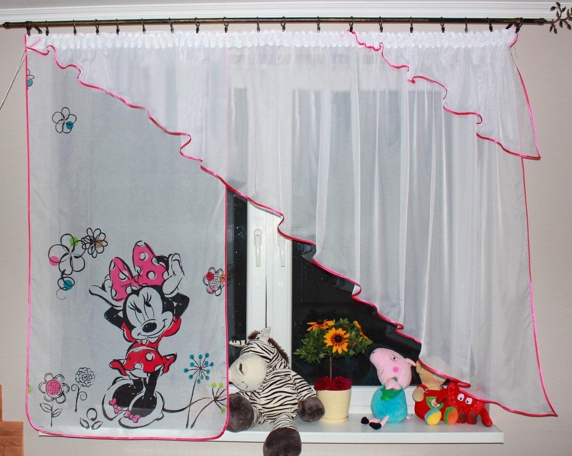 VOÁLOVÁ ZÁCLONA LOLA Minnie květiny S ÚKOSEM tmavě růžová 360X140CM