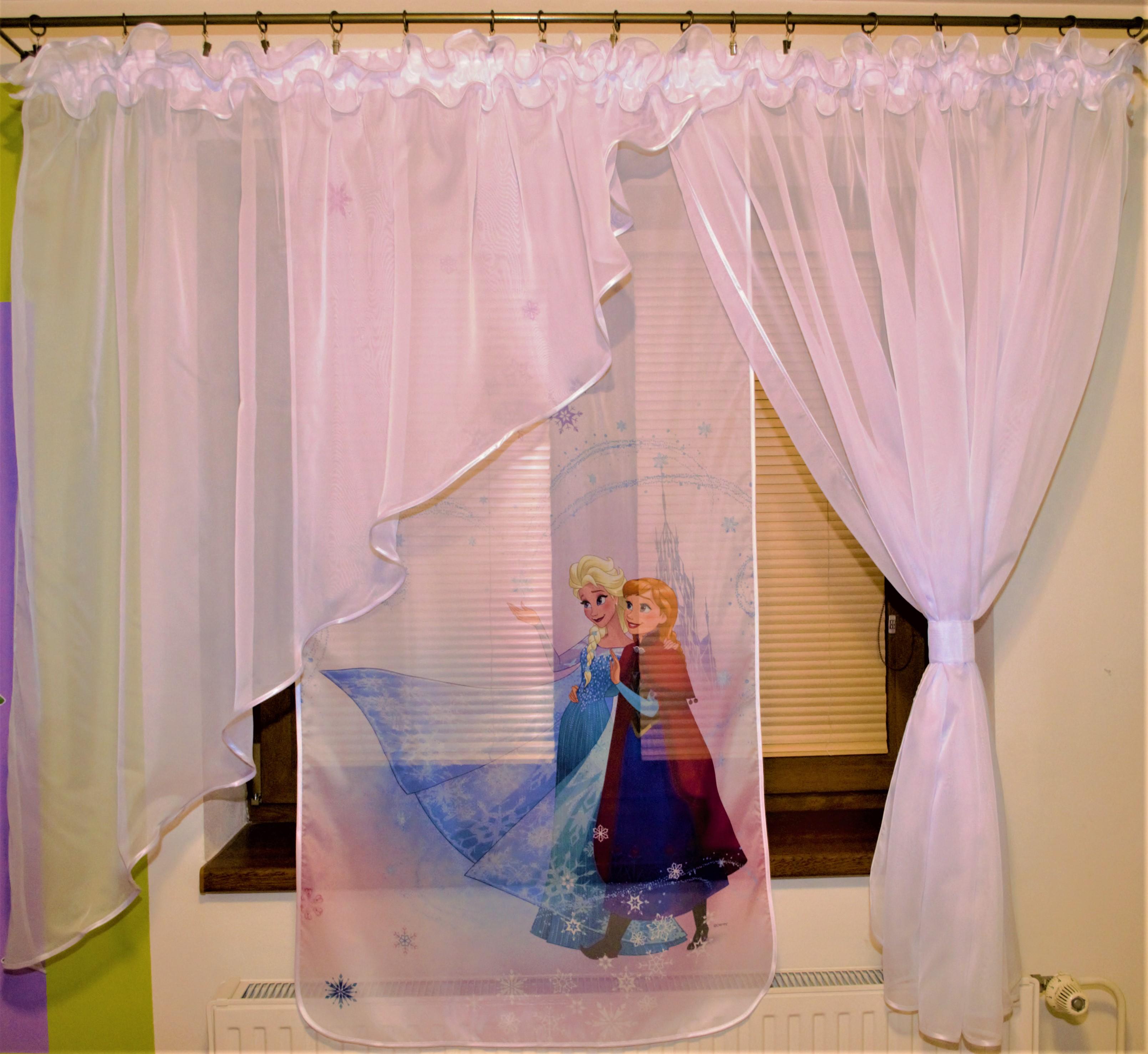Voálová Záclona Klaudie Frozen Anna a Elza Ledové království bílá 400x145cm