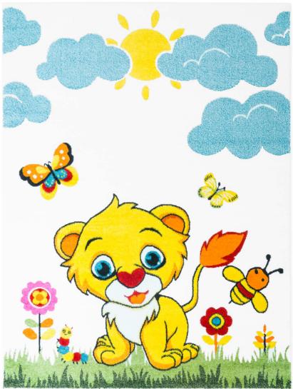 Dětský kusový koberec lvíček na louce krémový Rozměr: 160x220cm