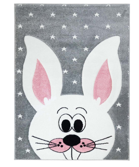 Dětský kusový koberec pastel králíček bílý v šedé Rozměr: 140x200cm