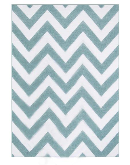 Kusový koberec blankytně modrý zig zag Rozměr: 140x200cm