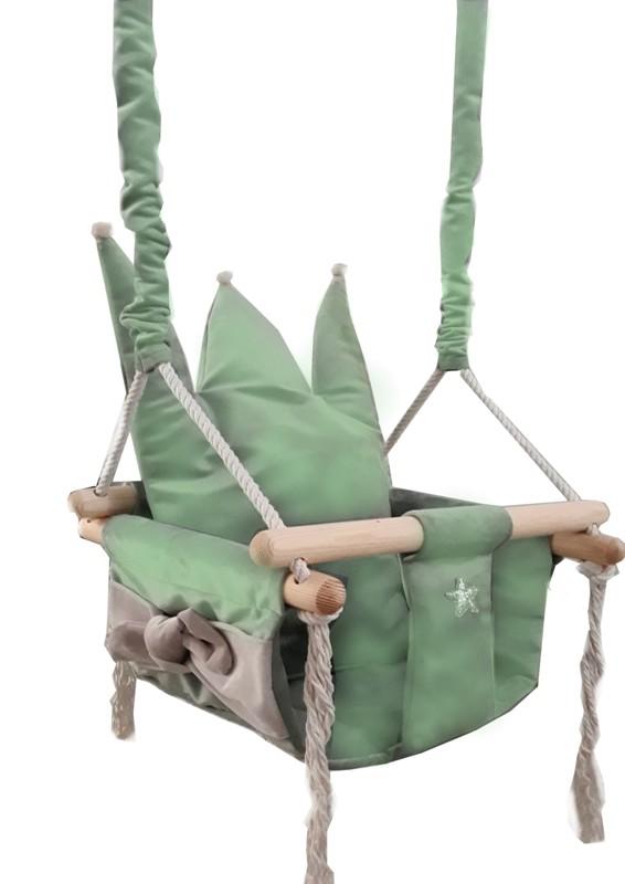 Luxusní zelená plyšová houpačka Queen pro děti do 25kg 36x36x23cm