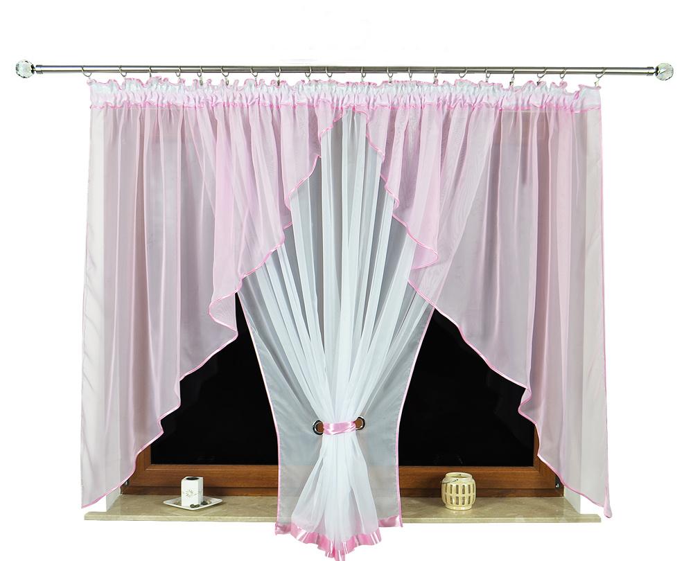 Hotová voálová záclona se dvěma úkosy Nora 150x400cm Barva: růžová, Rozměr: 400x150cm