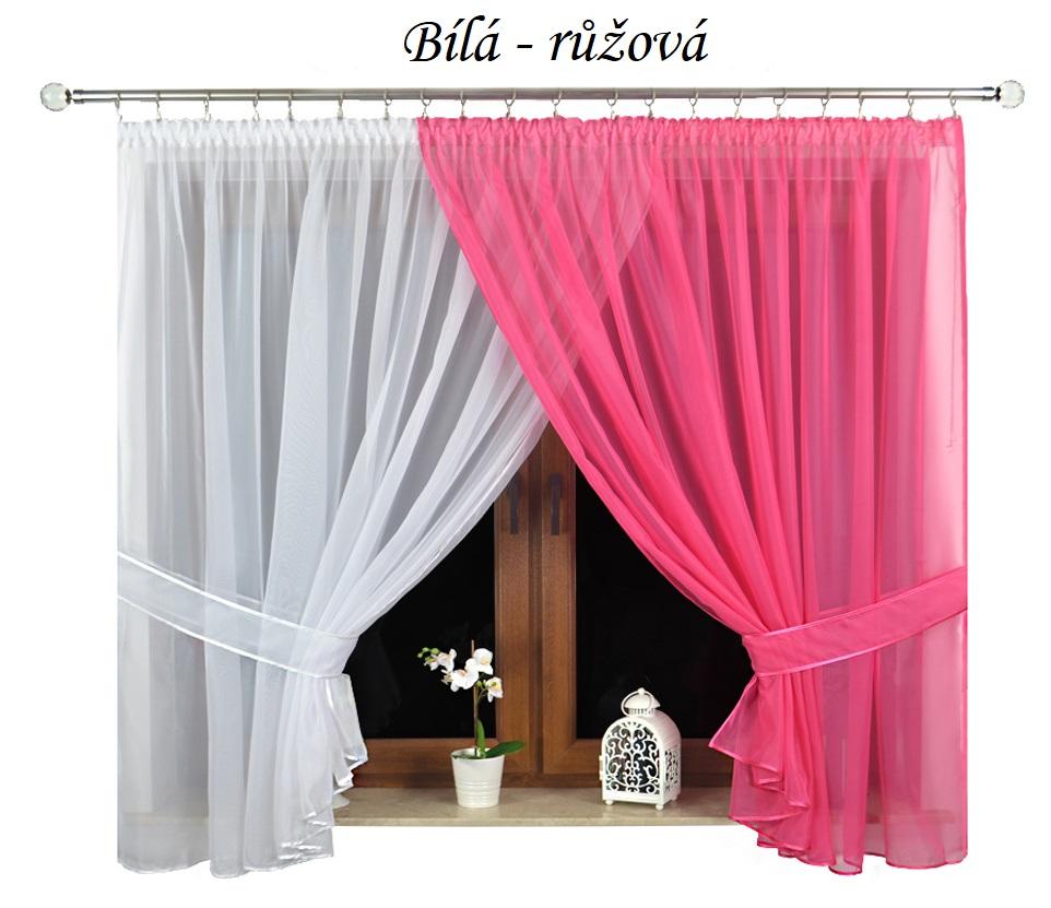 Hotová voálová záclona dvoubarevná 160x400cm různé barvy Barva: Bílá-růžová, Rozměr: 400x160cm