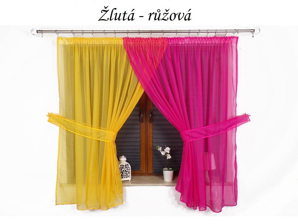 Hotová voálová záclona dvoubarevná 160x400cm různé barvy Barva: Žlutá-růžová, Rozměr: 400x160cm