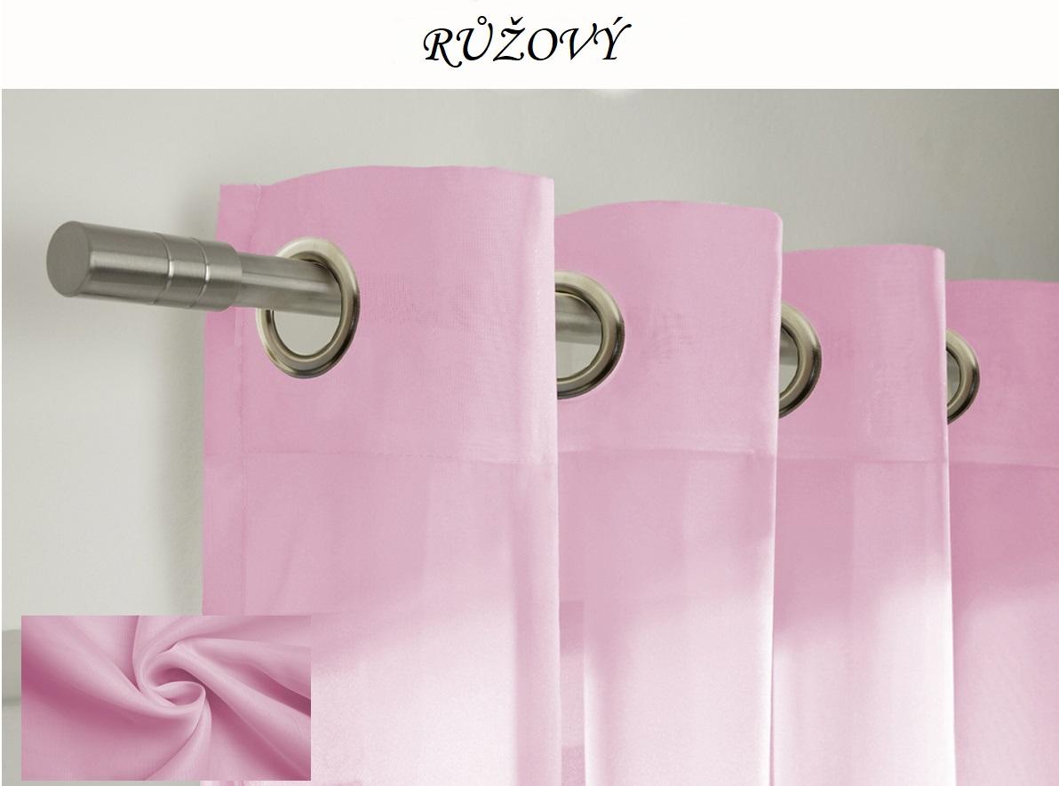 Hotový voálový barevný závěs / záclona na kolečkách / s kroužky 145x250cm různé barvy Barva: růžová