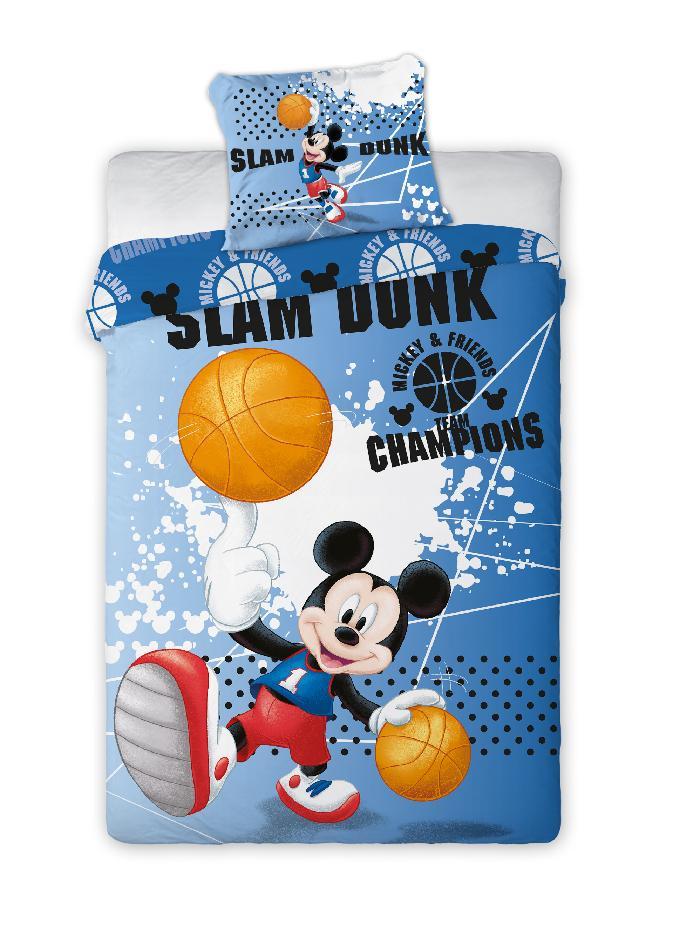 Dětské bavlněné licenční povlečení Mickey basketball 140x200cm / 70x90cm