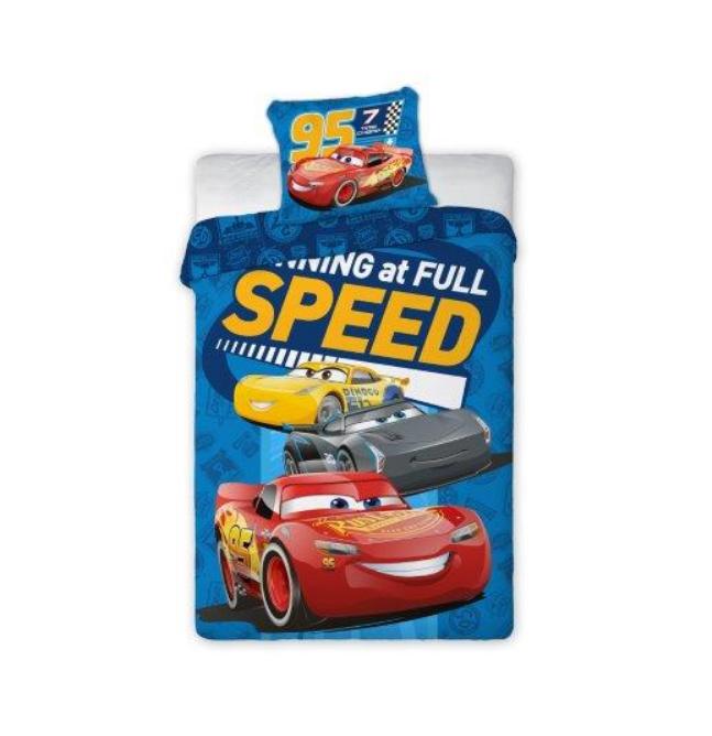 Dětské bavlněné licenční povlečení Disney Cars speed full / Auta / 140x200cm / 70x80cm modré