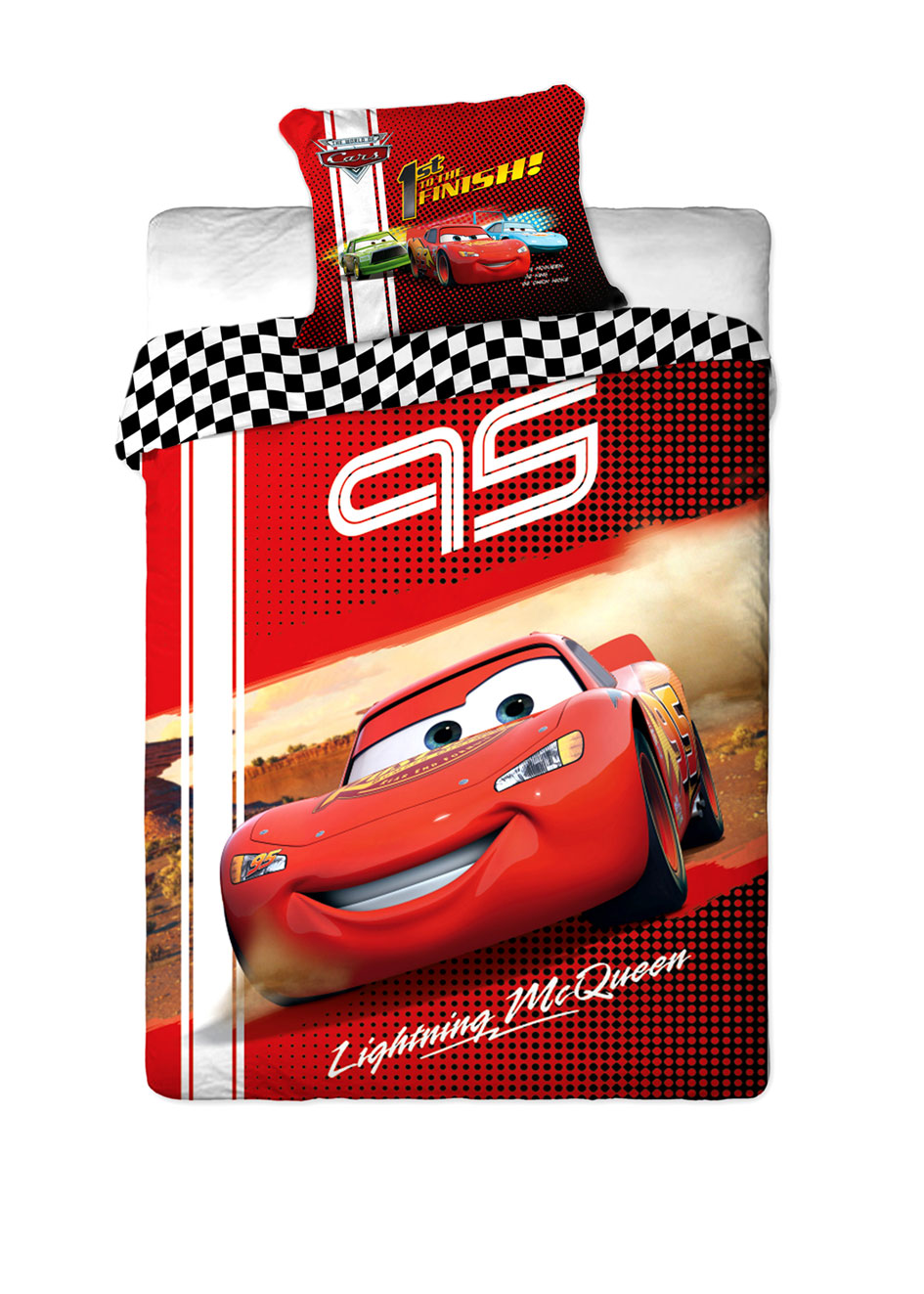 Dětské bavlněné licenční povlečení Disney Cars McQueen 95 / Auta / 140x200cm / 70x80cm červené