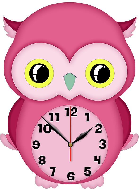 145cd2f50 Nástěnné dětské hodiny Sova dřevěné 30x42cm růžové