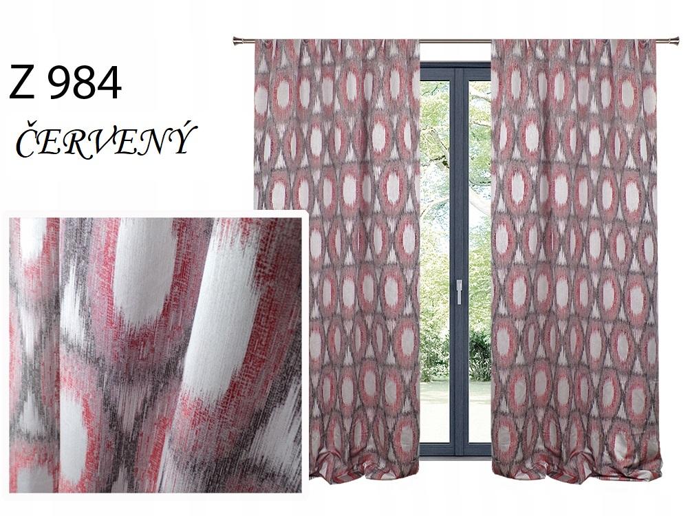 Zatemňovací závěs MAX 140x250cm na řasící pásce nebo kroužcích různé vzory a barvy Barva: Červená