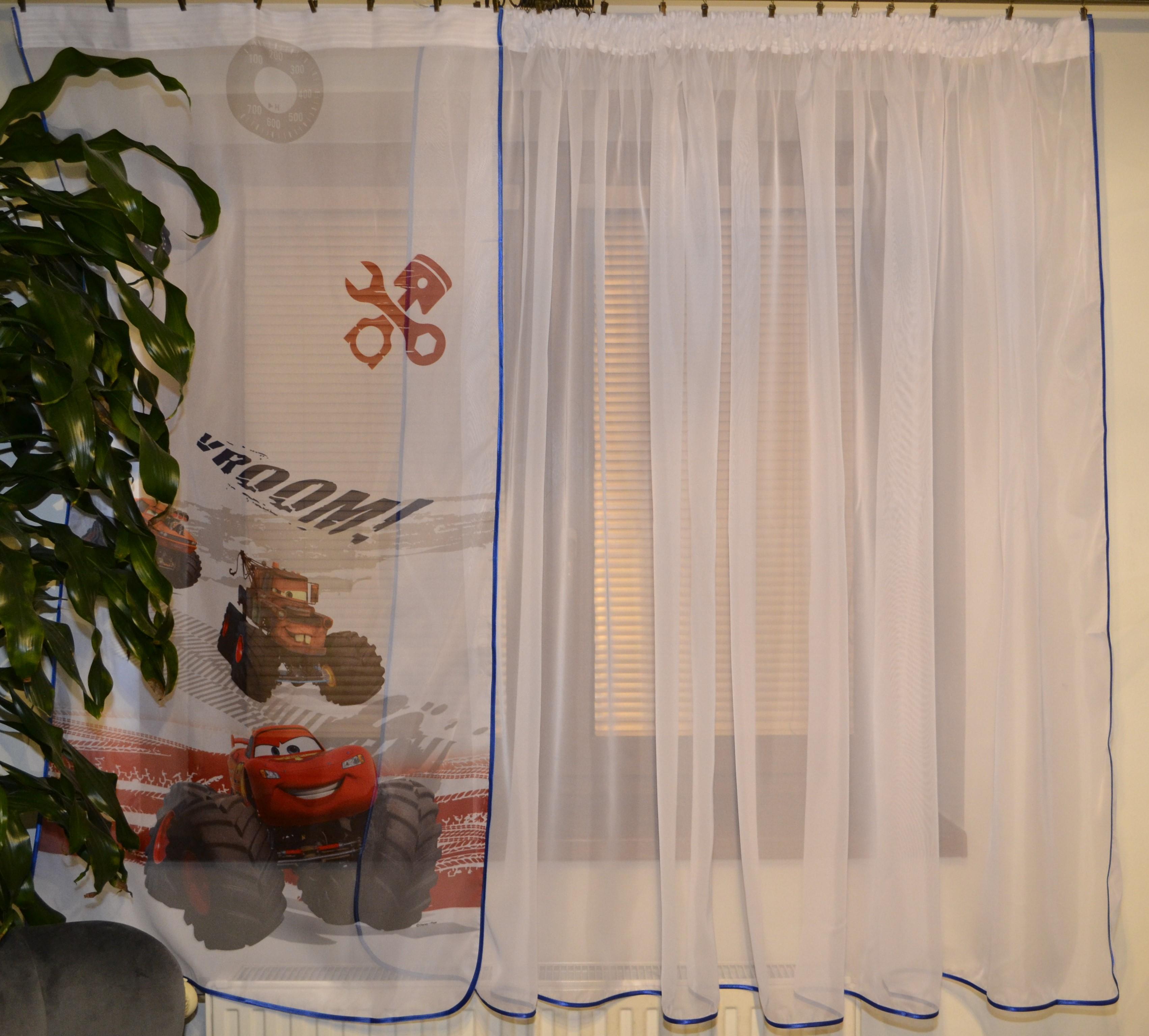 Dětská hotová voálová záclona Tina Disney Minnie a Daisy květiny 400x150cm růžová
