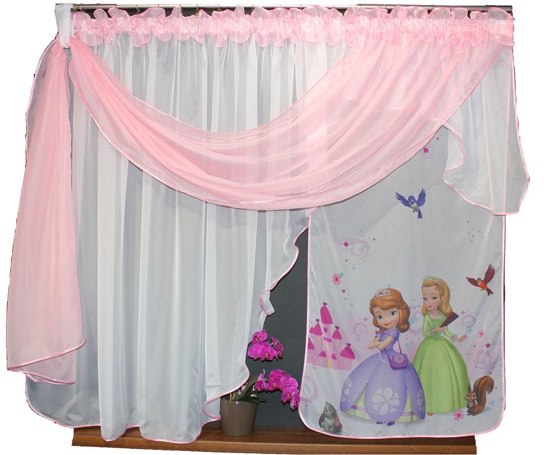 Dětská hotová voálová záclona Tina Disney Sophie Sofie a Amber 400x150cm růžová