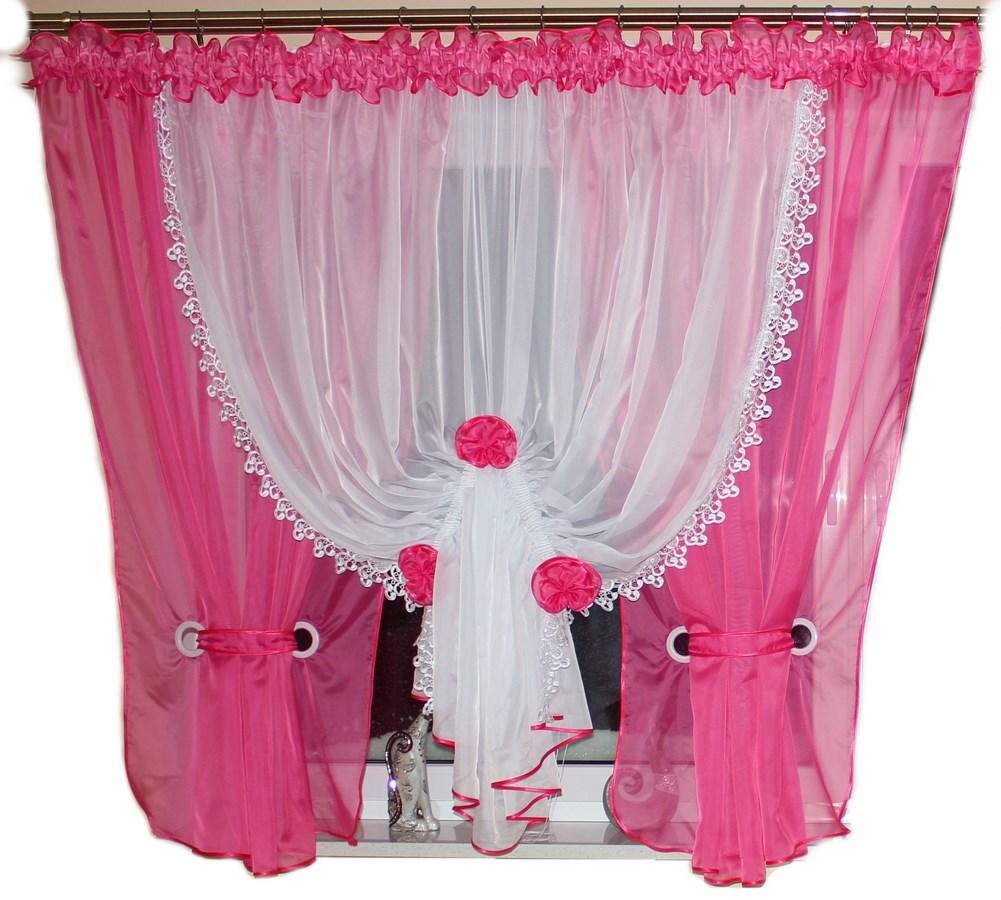 Hotová voálová záclona Sandra 400x150cm tmavě růžová