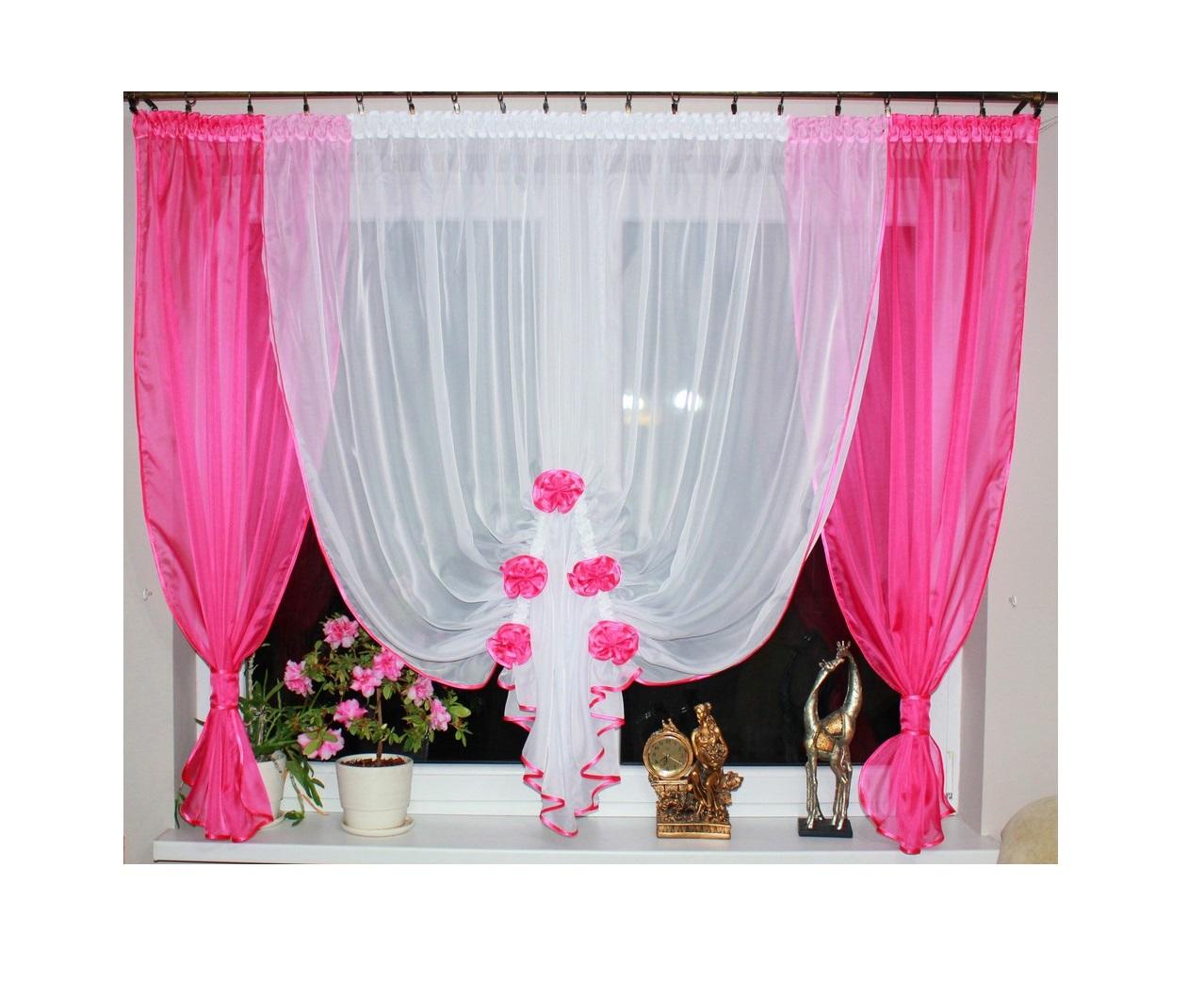 Hotová voálová záclona Simona 400x145cm tmavě růžová