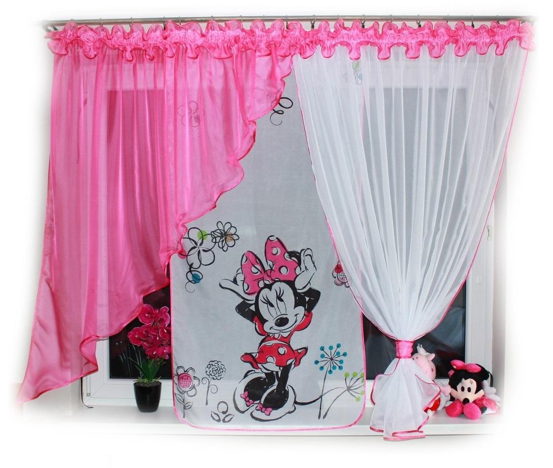 Dětská voálová hotová záclona Miranda 400x150cm Minnie Mouse květiny tmavě růžová