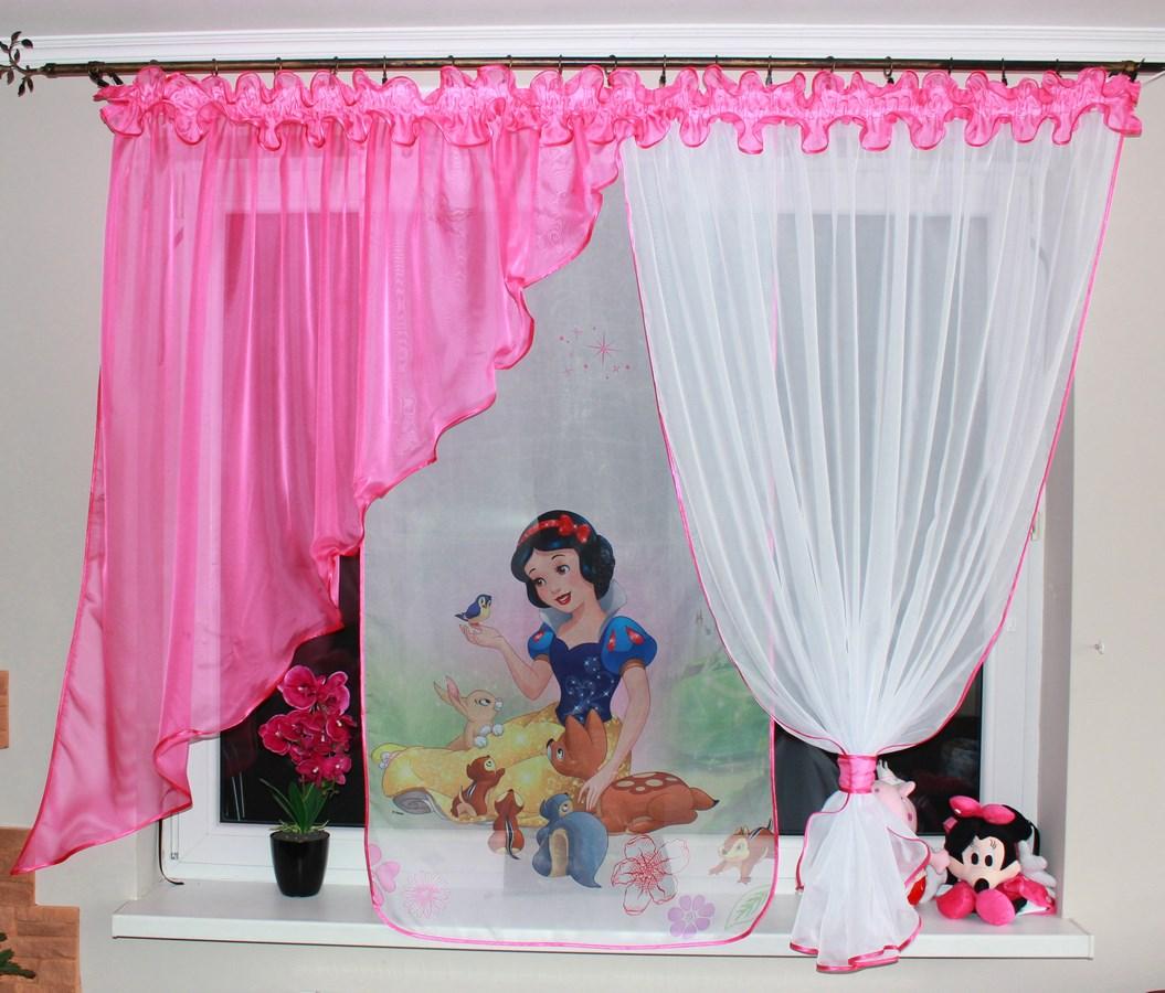 Dětská voálová hotová záclona Miranda 400x150cm Sněhurka tmavě růžová
