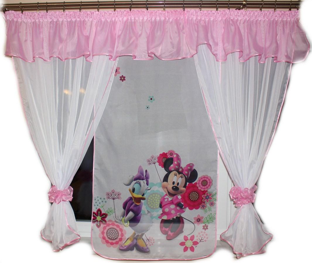 Voálová Záclona Denisa Minnie a Daisy růžová 400x150cm