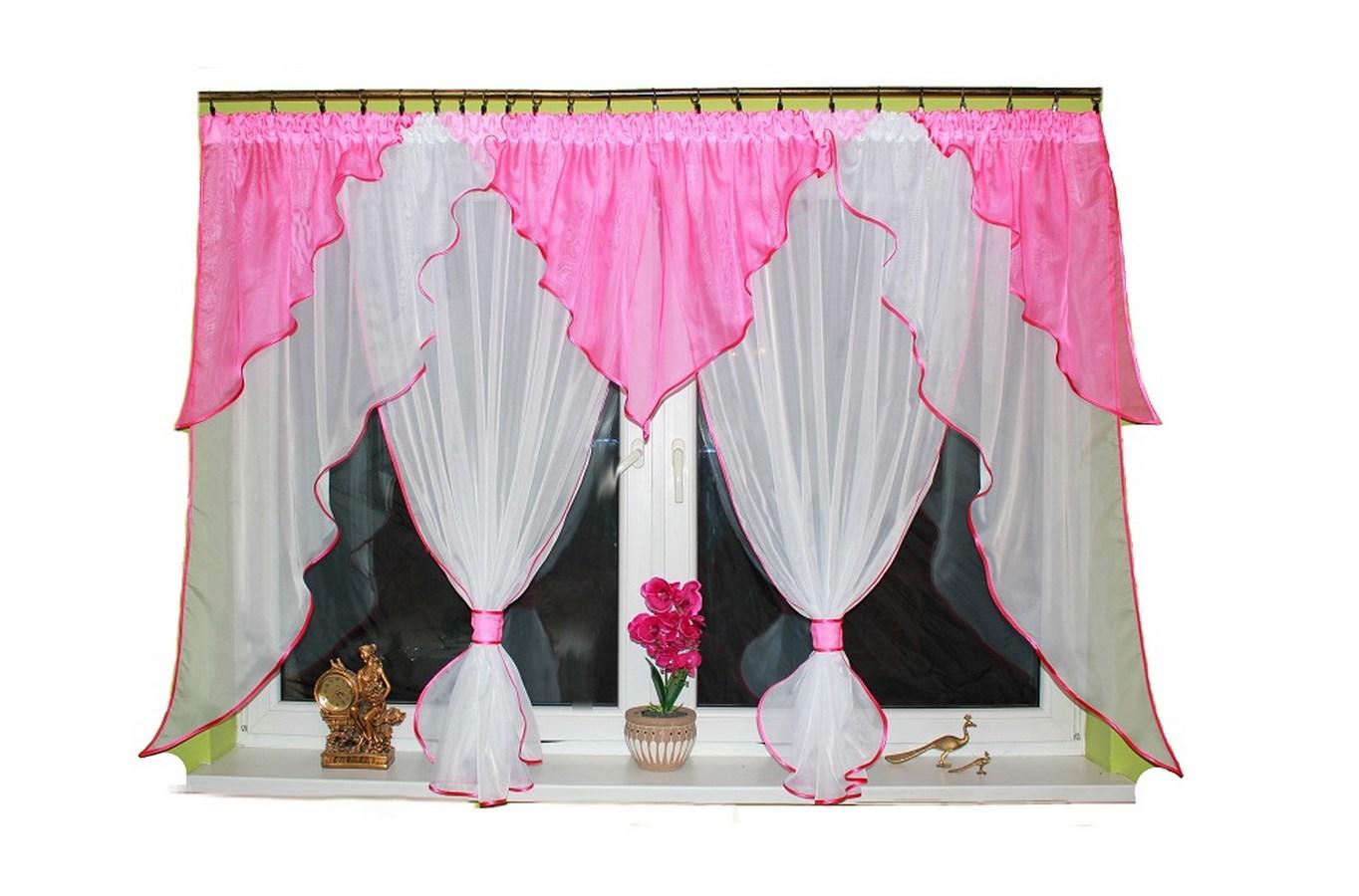 Hotová voálová záclona Carmen II 400x150cm různé barvy Barva: Tmavě růžová, Rozměr: 400x150cm