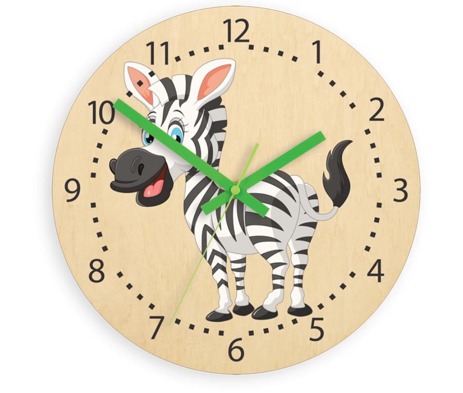 Nástěnné dětské dřevěné hodiny zebra tiché 30cm bříza