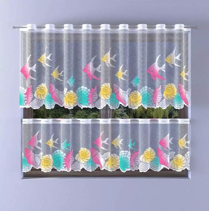 Berušky žakárová malovaná záclona výška 50cm, metráž
