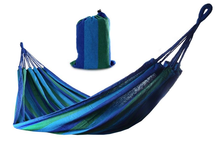 Houpací síť NINA / houpačka jednoosobová 200x85cm zeleno modrá+taška