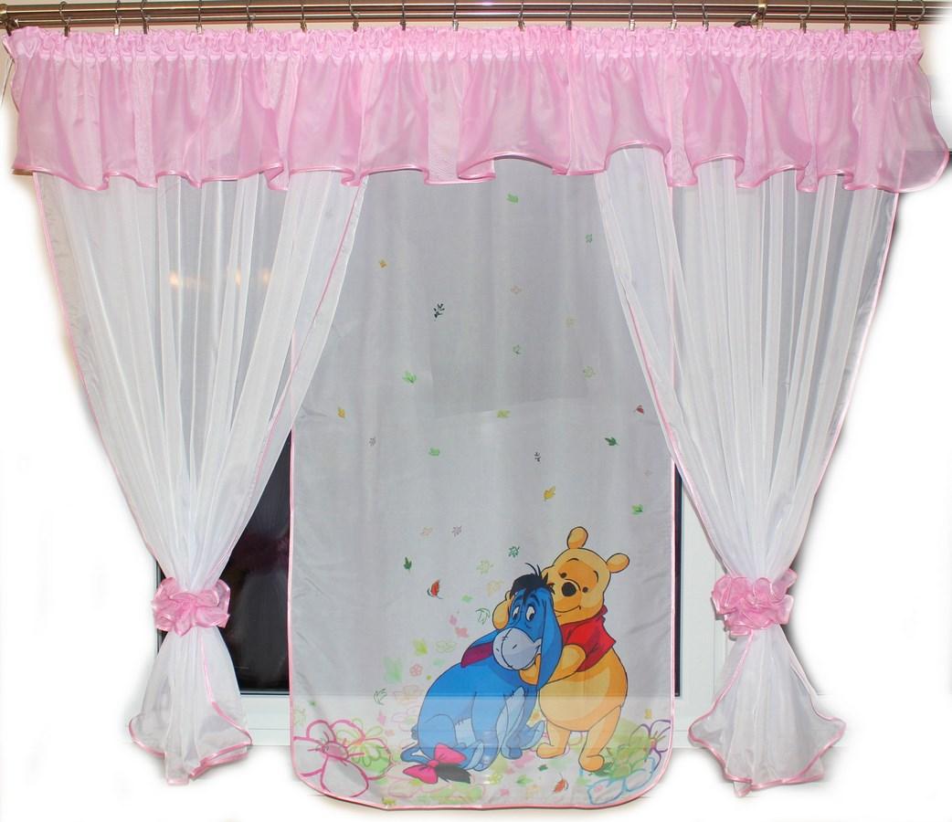 Voálová Záclona Denisa Medvídek Pú a oslík růžová 400x150cm