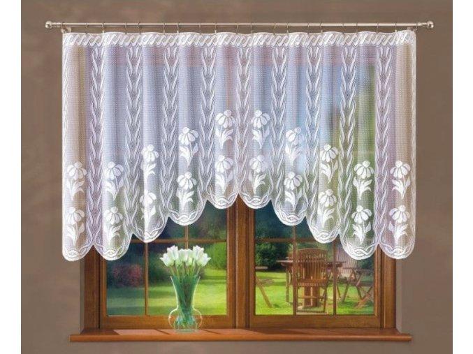 Hotová žakárová záclona kvety 230 x 120cm biela