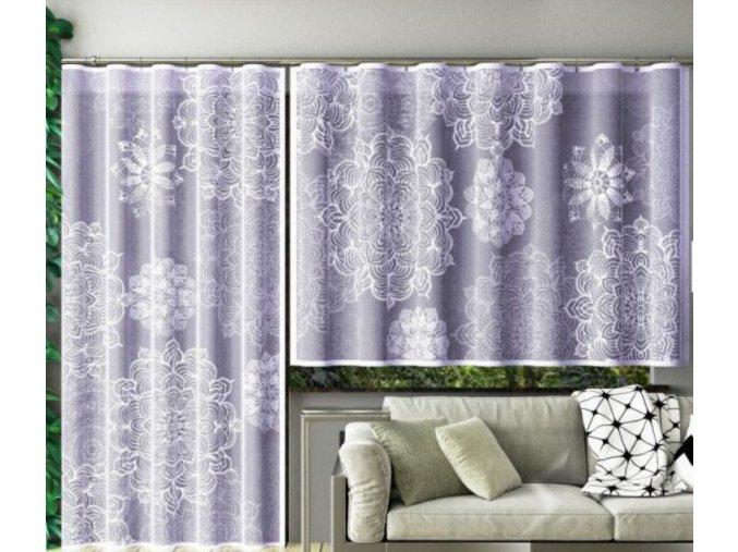 Hotová žakárová záclona mandaly 160x250cm biela