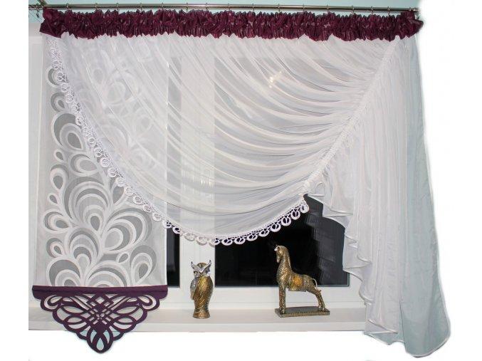 Firanka okienna Barbara Azur sliwkowa 400 150