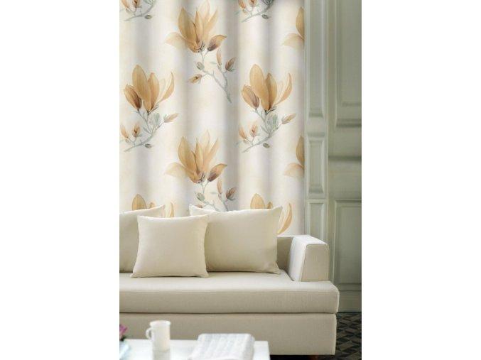 Hotový luxusní závěs magnólie 140x250cm v různých barvách (Barva Magnólie béžovo-šedá)