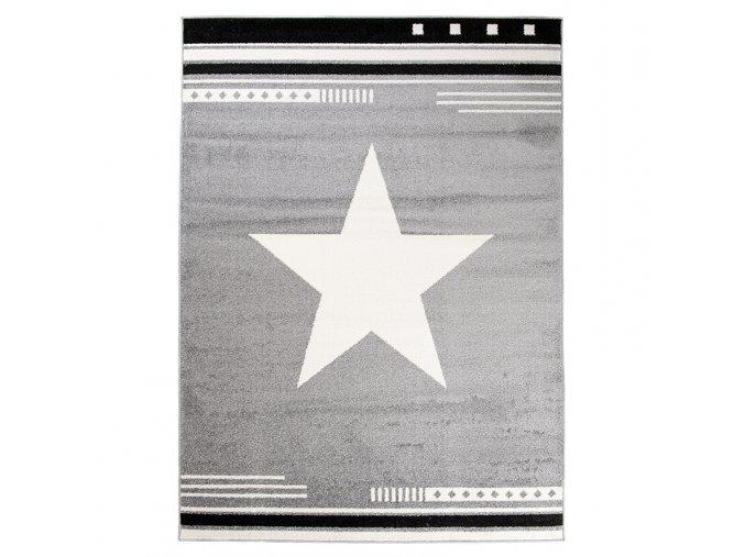 Koberec kusový hvězda světle šedý různé velikosti (Rozměr 80x150cm)