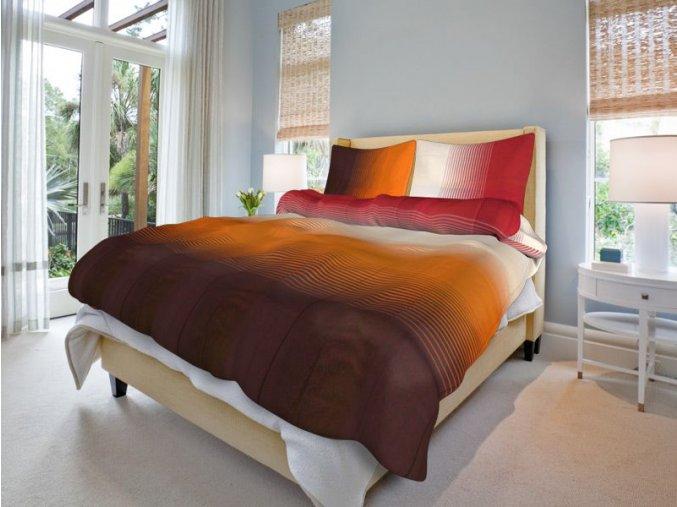 Bavlněné povlečení diagonal hnědo červené (Rozměr 220x200cm+2x70x90cm)